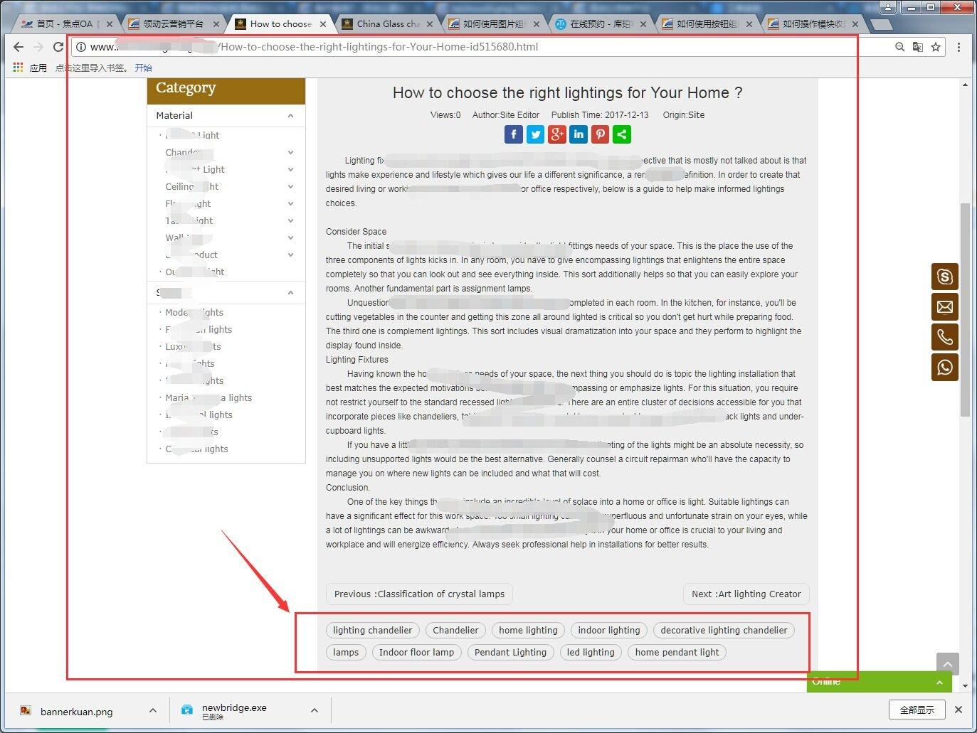 關鍵詞在文章詳情頁面的展示效果